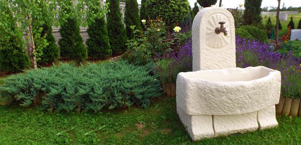 Decorative drinking fountains for yards, gardens and parks
