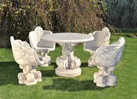 Garden seat and tables